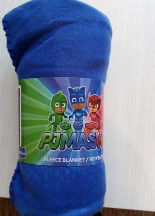 Детский флисовый плед герои в масках кэтбой, совка, гекко 100х140 см4