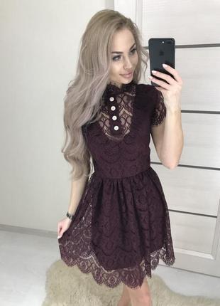 Вечернее платье новогоднее нарядное мини кружевное s m l 44 46 48 пышное