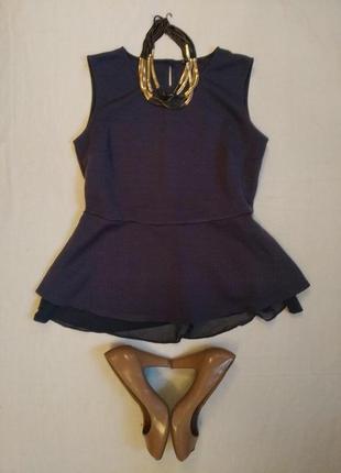 Кофточка с баской/блузка/блуза с воланом и шифоновой вставкой