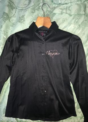 Атласная чорная блузочка