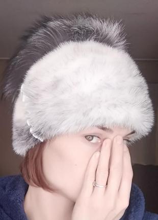 Меховая шапка норка+чернобурка