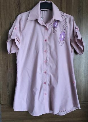 Удлинненная летняя лиловая рубашка с вышивкой. размер 48-50 наш