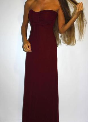 Бордовое платье в пол, ткань вискоза