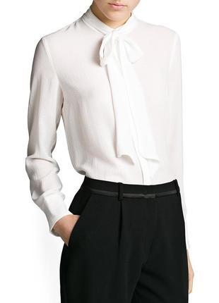 Белая блуза-рубашка с бантом mango suit, m