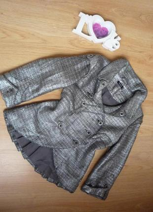 Нарядный пиджак серебристого цвета от бренда vila