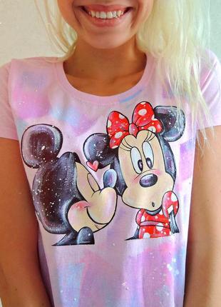 Handmade 🎨 ніжно рожева  футболочка (міккі та мінні маус) всі розміра .3