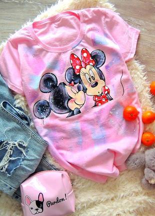 Handmade 🎨 ніжно рожева  футболочка (міккі та мінні маус) всі розміра .