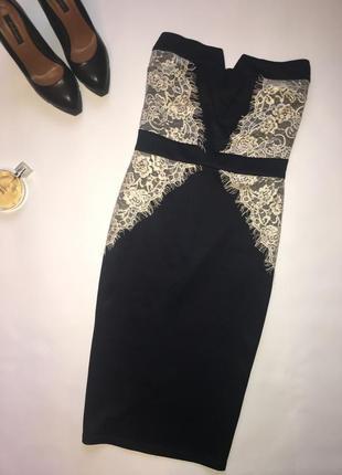 Красивое силуэтное платье миди с кружевом