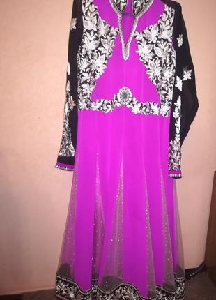 Платье с вышивкой, на подкладке, восточный стиль