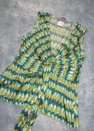 Топ блуза с запахом из натурального шелка от moonsoon р.12 l. мягкое золото!