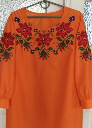Платье - вышиванка ручной работы, ручная вышивка по полотну