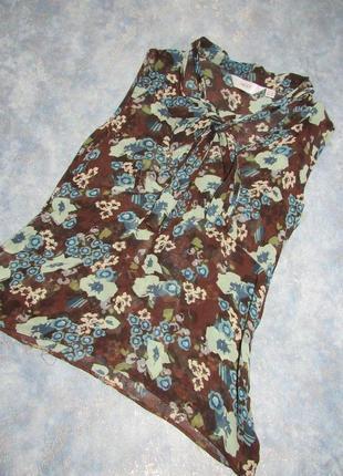 Шифоновый топ блуза из натурального шелка от next р.12 l. лучшая цена!
