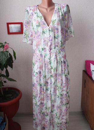 Идеальное длинное платья в цветы h&m 38 размер м шифоновое платье в цветочный принт