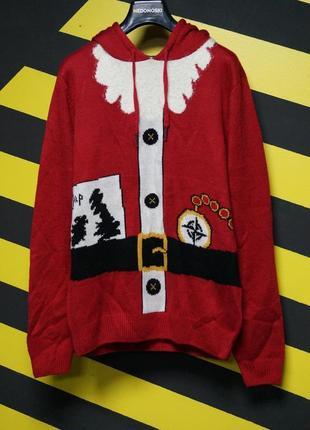 Новогодний рождественский праздничный свитер костюм санты с капюшоном дед мороз