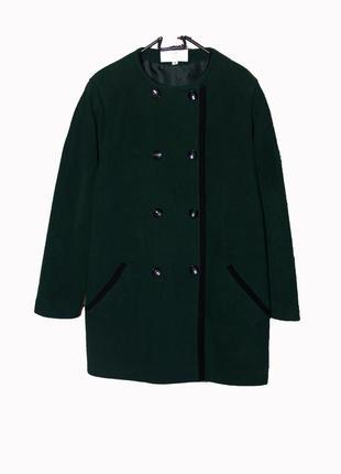 English lady/ элегантное  пальто - кокон, шерсть+кашемир изумрудного цвета uk16