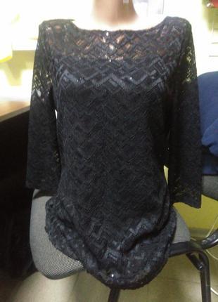 Кофта гипюр кружево нарядная черная