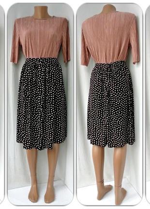 Cтильная юбка на пуговицах f&f в горошек. размер uk 6/eur 34(xs/s).