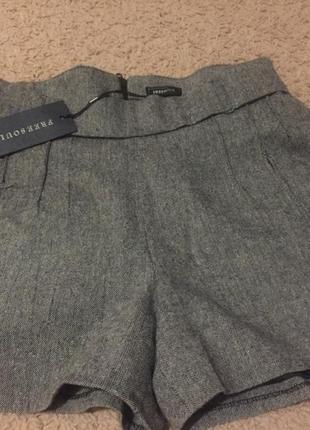 Стильные элегантные шорты с высокой талией на подкладке, натуральная ткань!