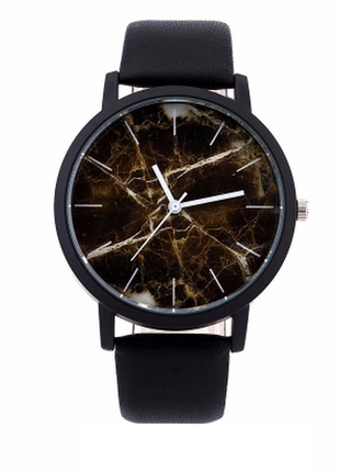 Черные мраморные женские часы marble brown