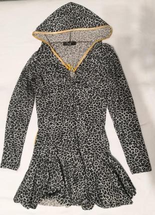 Женская леопардовая туника с капюшоном