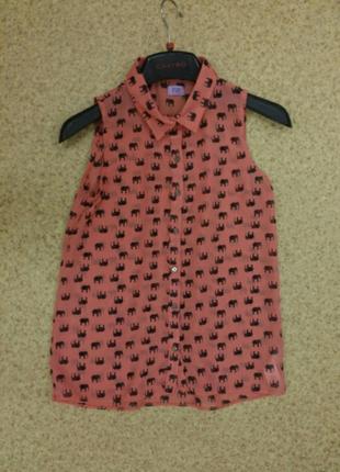 Блузка со слонами f&f шифоновая 11-12лет