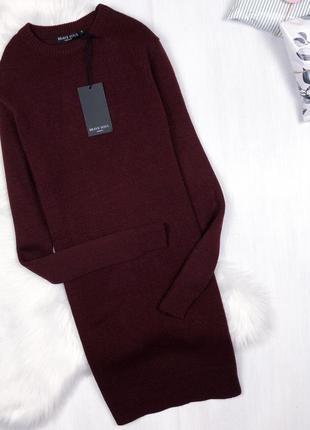 Оверсайз сукня-светр від asos \ теплое марсаловое оверсайз платье свитер {brave soul}
