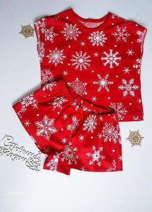 Новогодняя пижама, пижамка, пижамные шорты, футболка