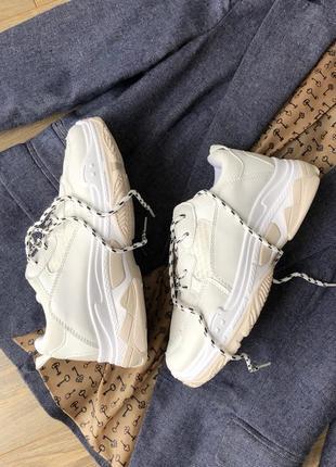 Белые бежевые кроссовки/ унисекс/наложка3 фото