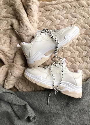 Белые бежевые кроссовки/ унисекс/наложка1 фото
