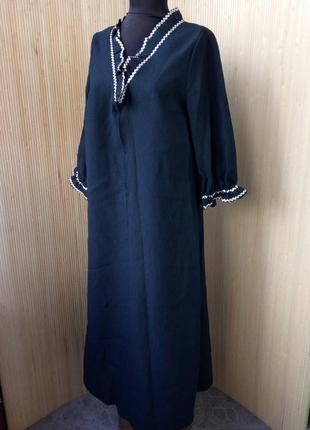 Чёрное платье туника с молнией на груди