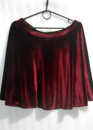 Нарядная бархатная юбка спідниця цвета марсала размер м