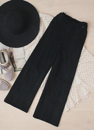 Стильные замшевые кюлоты с карманами на высокой талии/брюки