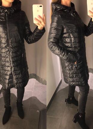 Стеганое демисезонное пальто с капюшоном куртка на синтепоне amisu есть размеры