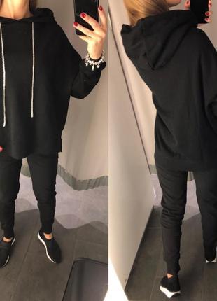 Чёрный спортивный костюм на флисе прогулочный костюм amisu есть размеры