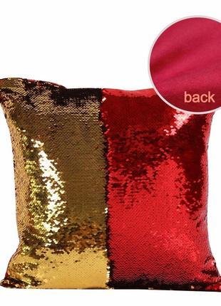 Декоративная наволочка красно-золотая с двусторонними пайетками, меняет цвет