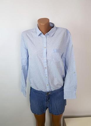 Esprit льняная рубашка размер l бойфренд