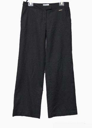 Серые расклешенные брюки - кюлоты в полоску