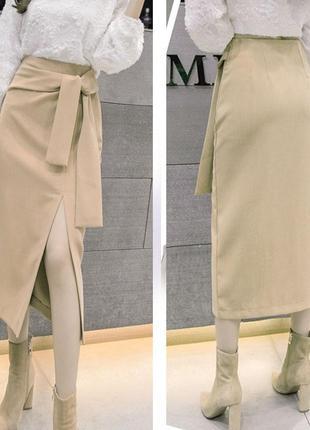 Эффектная юбка с разрезом, 9 цветов, джерси, зима-весна-осень, все размеры