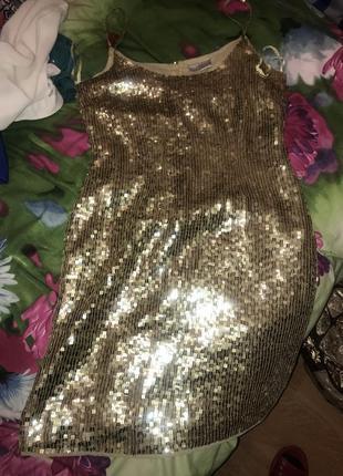 Новое шикарное брендовое с бирками платье в золотых паетках