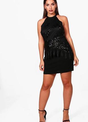 Чёрное платье с пайетками boohoo размер xl