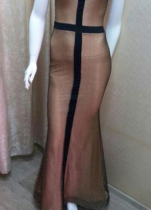 Платье в пол сетка чёрное золото