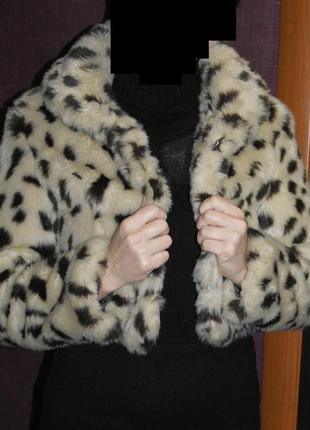 Шубка эко мех леопардовая