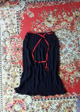 Стильная юбка в мелктий горошек. 87 см длина