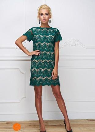 Нарядное женское красивое платье с кружевом цвет зеленый