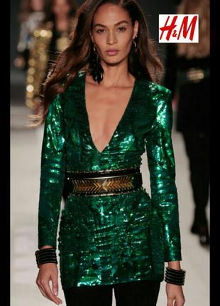 Изумрудное, звездное,платье,balmain h&m.размер 38(м).
