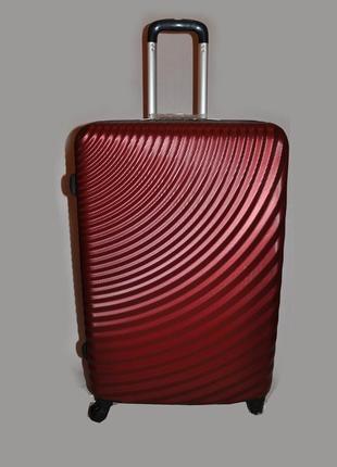 Большой чемодан perfect line из поликарбоната, бордовый чемодан