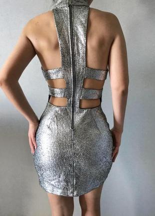 Блестящее платье серебряное новогоднее вечернее