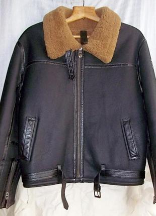 Куртка мужская зимняя кожаная пилот . размер 54