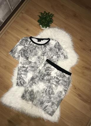 3d костюм vila юбка и футболка оверсайз костюм сетка