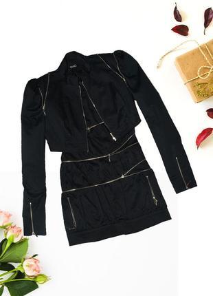 Комплект платье и балеро черный с молниями tago